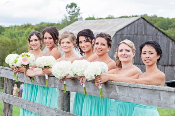 barn wedding haliburton bridesmaids