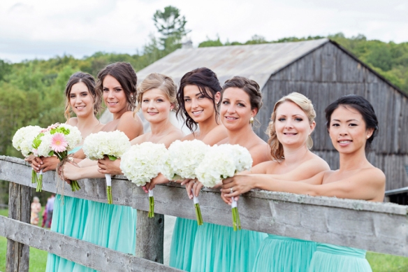 barn wedding haliburton bridesmaids