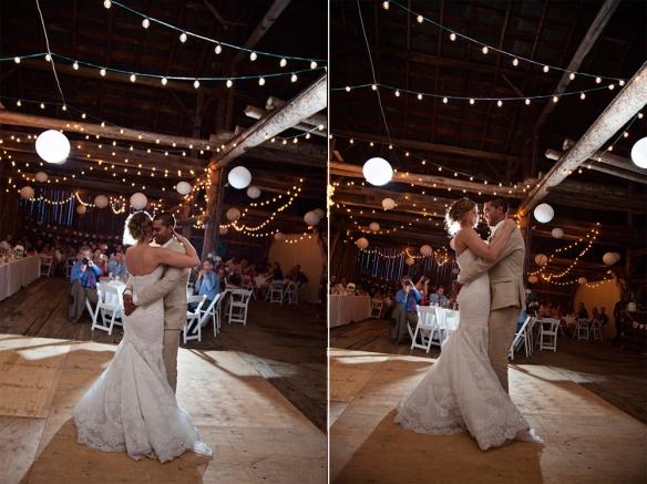 wedding dance lights barn