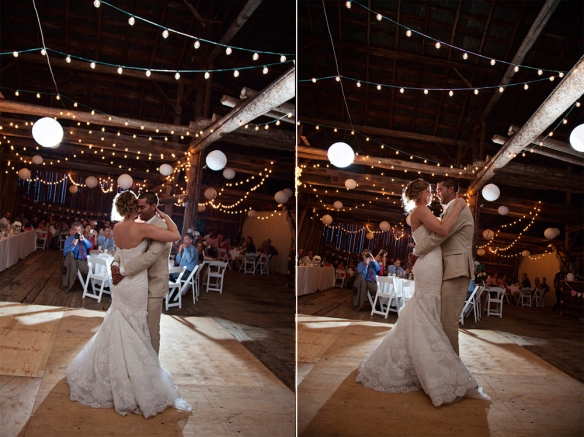 wedding dance lights barn