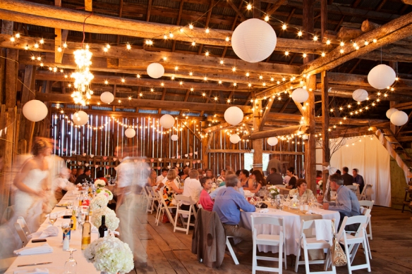 barn reception lights wedding