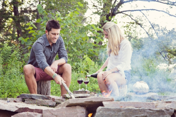 campfire couple wine
