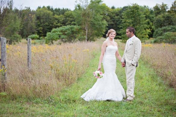 wedding bride and groom field