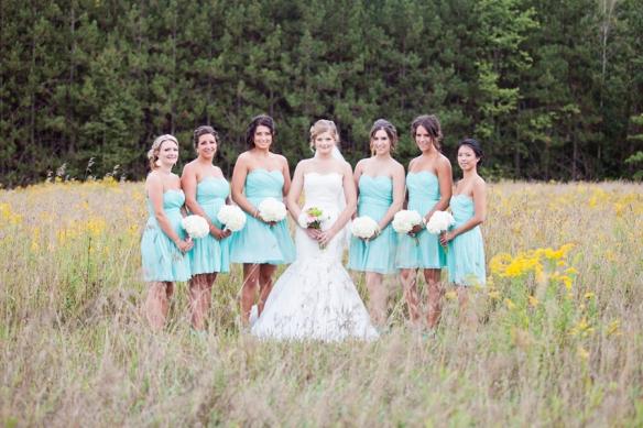 bridesmaids field flowers