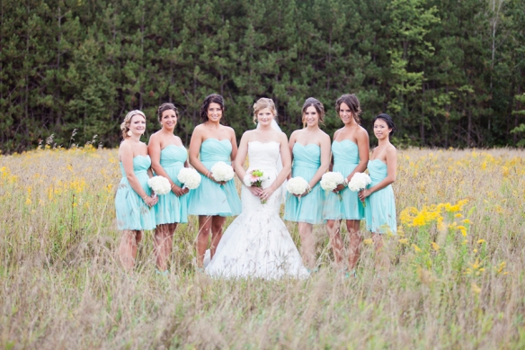 bridesmaids field flowers