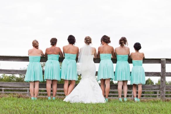 bridesmaids photo wedding field