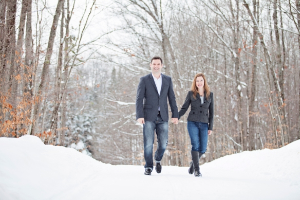 couple snow winter engagement