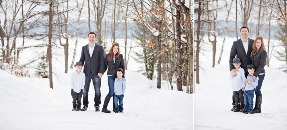 family portrait in winter Haliburton