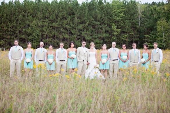 bridal party in field ontario