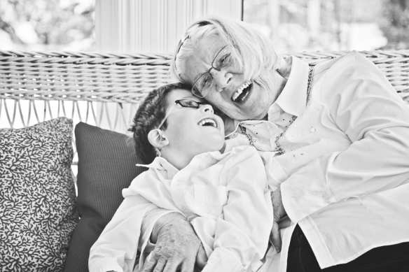 laughing Grandmother with grandson