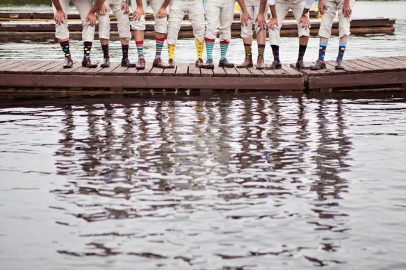groomsmen on dock wedding haliburton