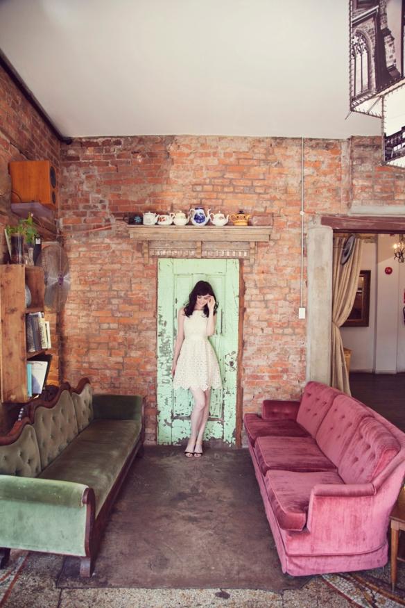 vintage cafe model pink martini